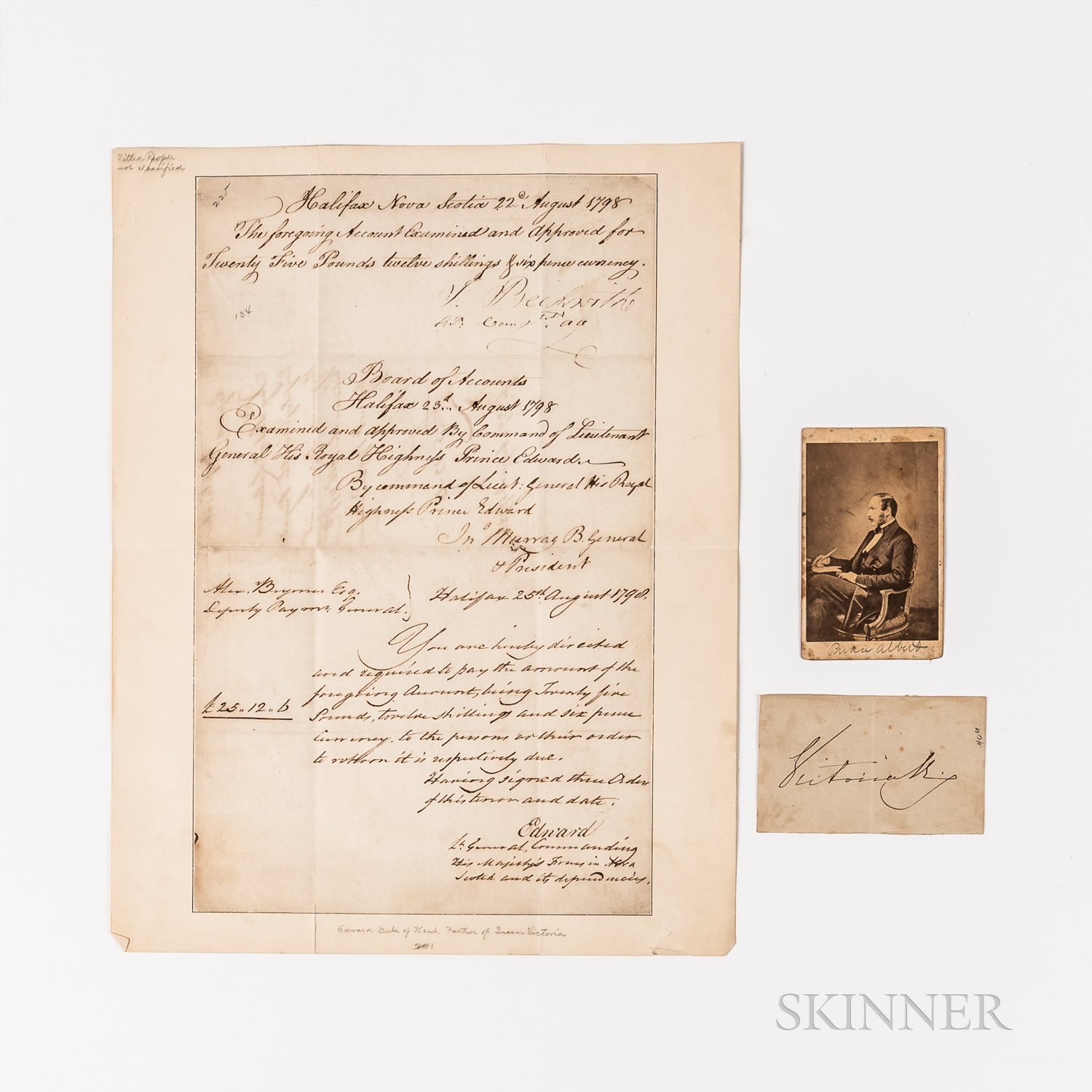 Queen Victoria (1819-1901), Prince Albert (1819-1861), and Prince Edward (1767-1820) Autographs/Photo/Document Signed.