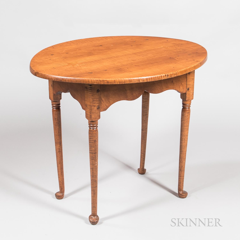 Queen Anne Tiger Maple Tea Table