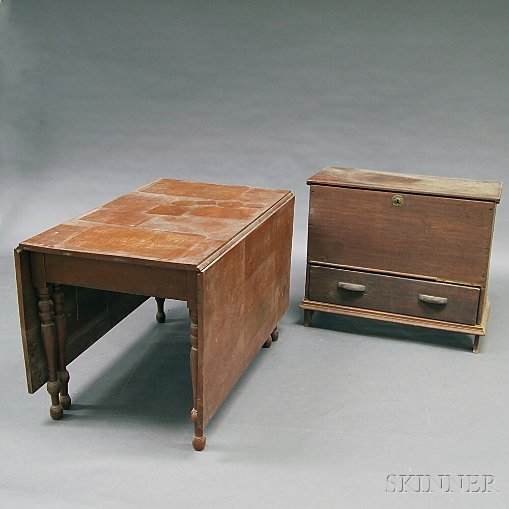 Federal-style Cherry Drop-leaf Table and a One-drawer Chest