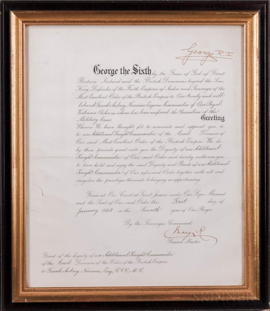 George VI, King of the United Kingdom (1936-1952) Document Signed, 1 January 1943.