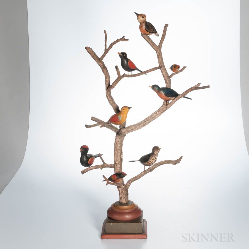 Carved and Painted Folk Art Birds in a Tree