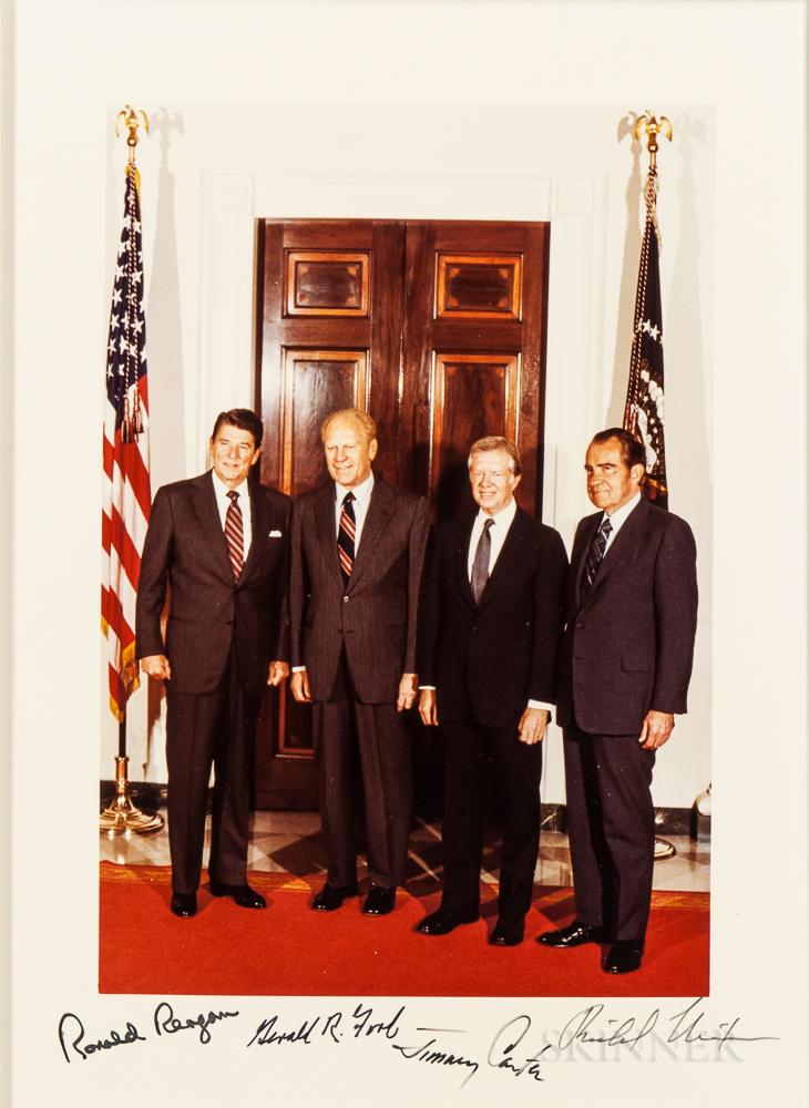 American Presidents: Ronald Reagan (1911-2004); Gerald R. Ford (1913-2006); Jimmy Carter (b. 1924); and Richard Nixon (1913-1994), Sign