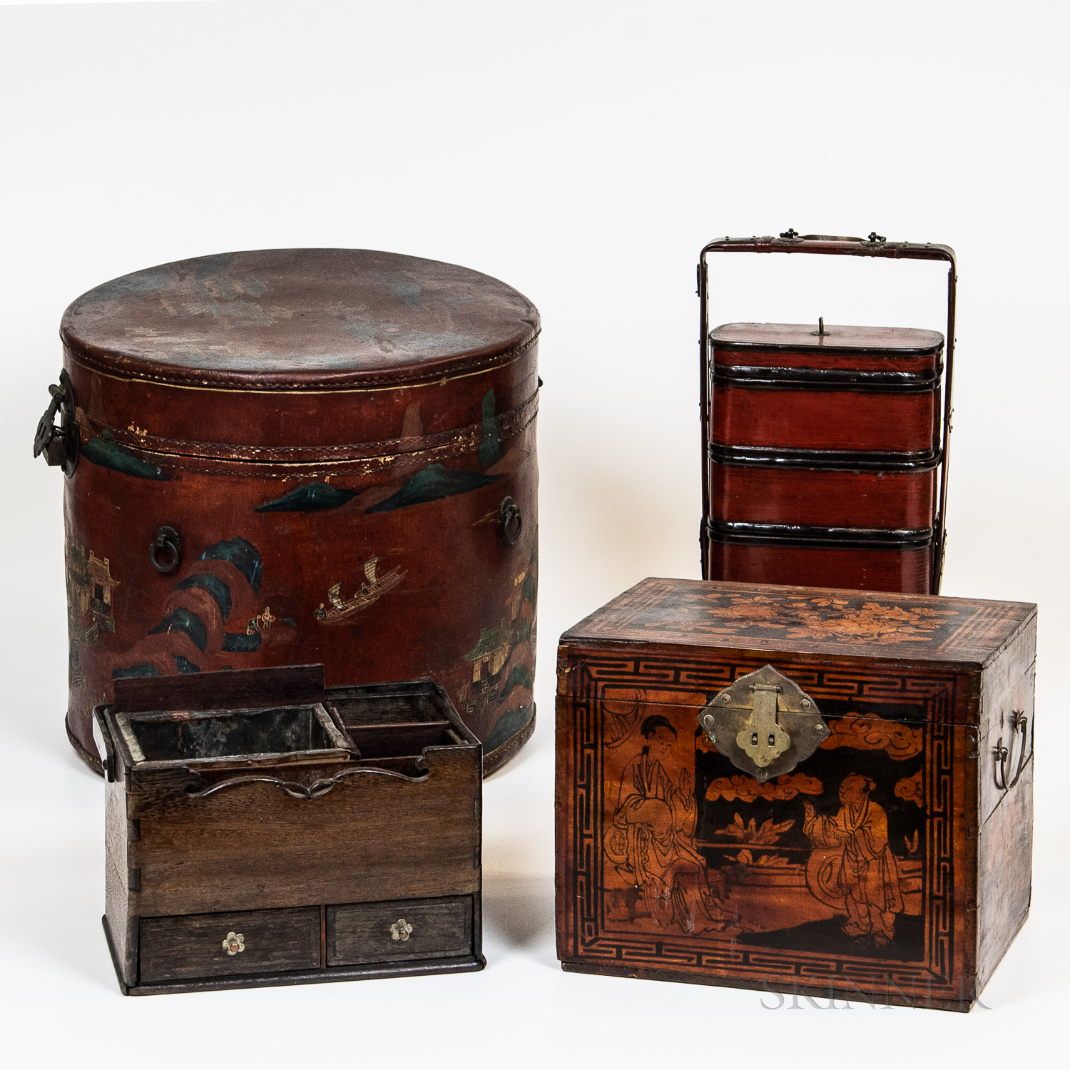 Four Asian Wood, Lacquer, and Leather Items
