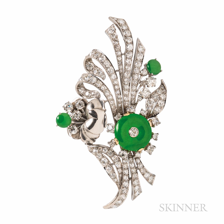 Jade and Diamond Brooch