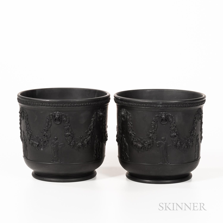 Two Wedgwood Black Basalt Jardinieres