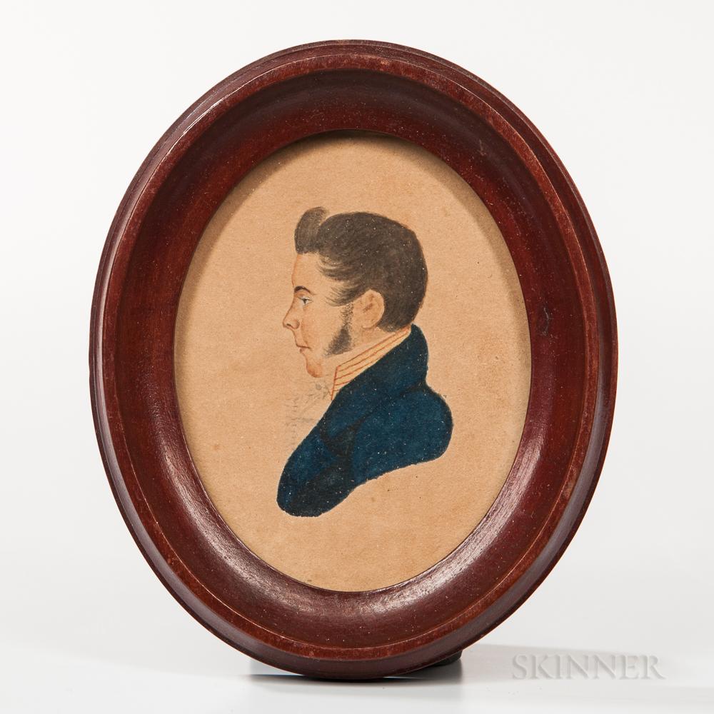 American School, Mid-19th Century       Miniature Portrait of a Man in a Blue Jacket