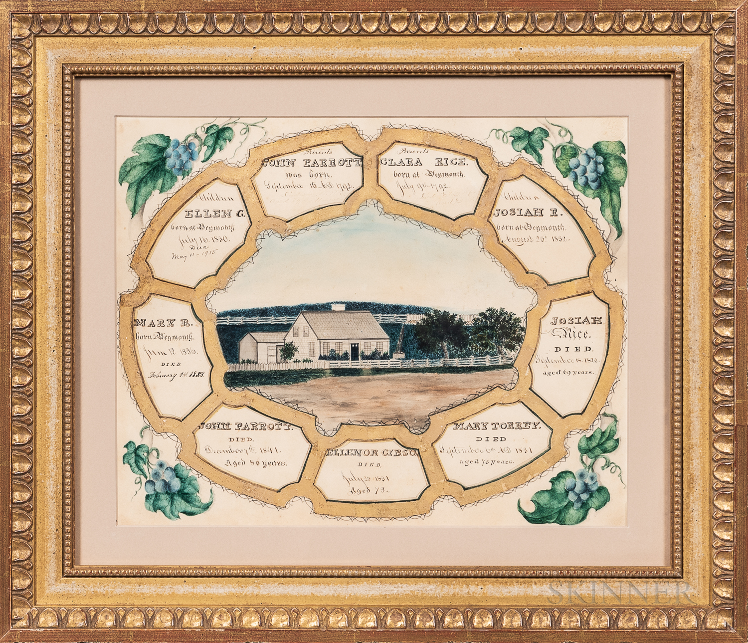 """Watercolor and Gilt """"Parrott-Rice"""" Family Record"""