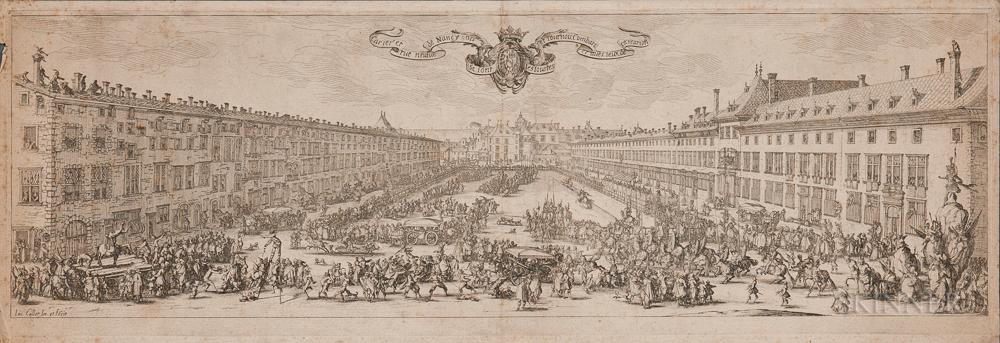 Jacques Callot (French, 1592-1635)      La Carrière de Nancy, ou La Revue Neuve de Nancy ,  an 18th Century Impression