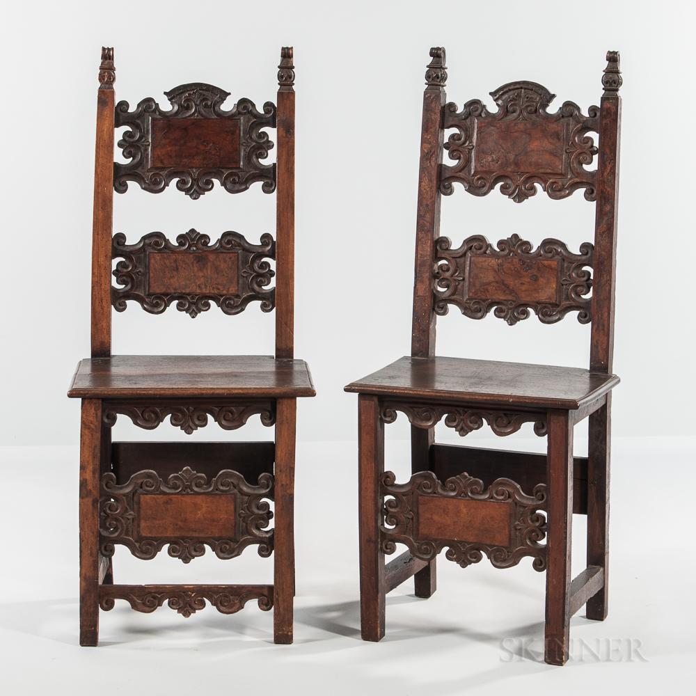 Near Pair of Renaissance Revival Walnut and Burlwood-veneered Side Chairs