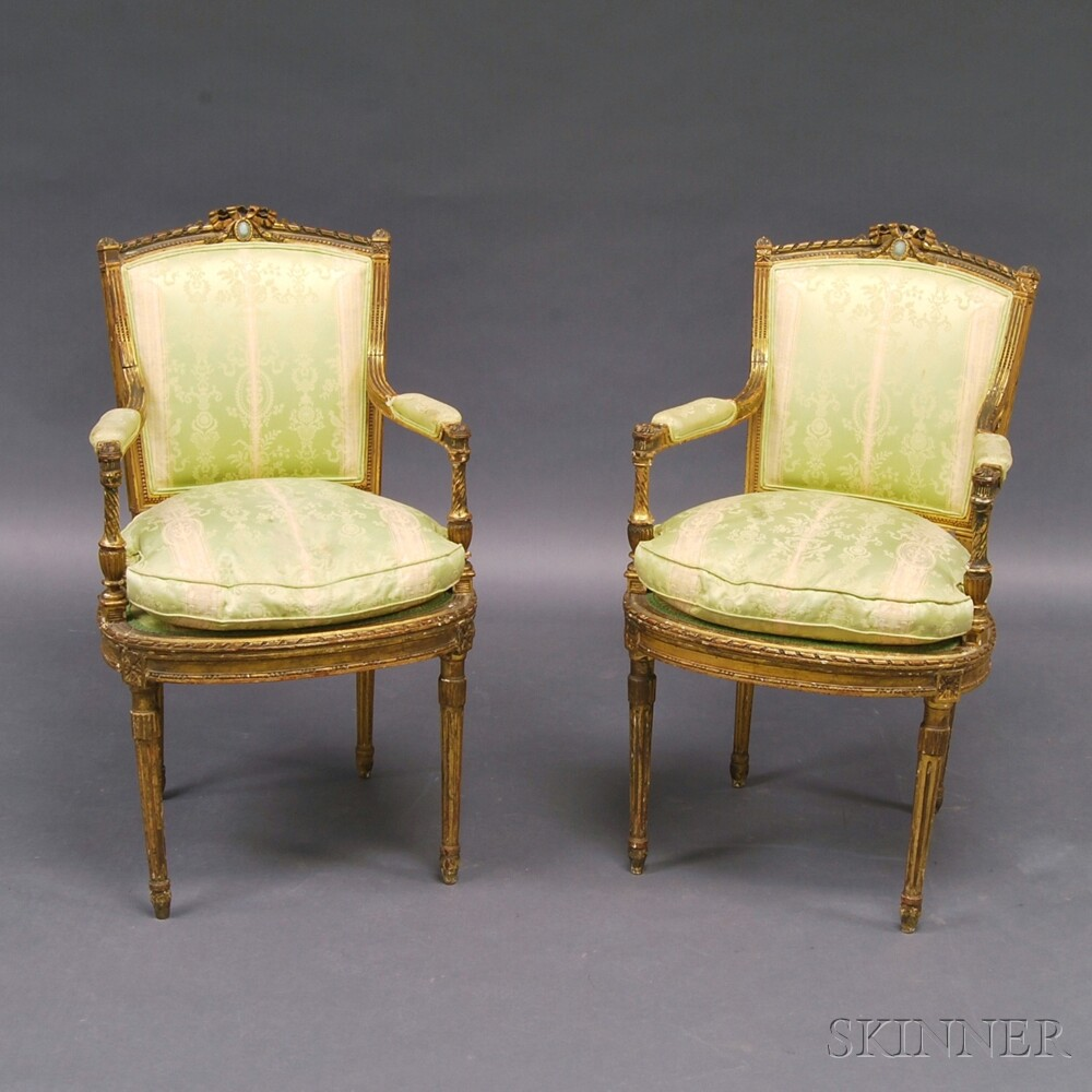 Pair of Louis XVI-style Giltwood Chairs