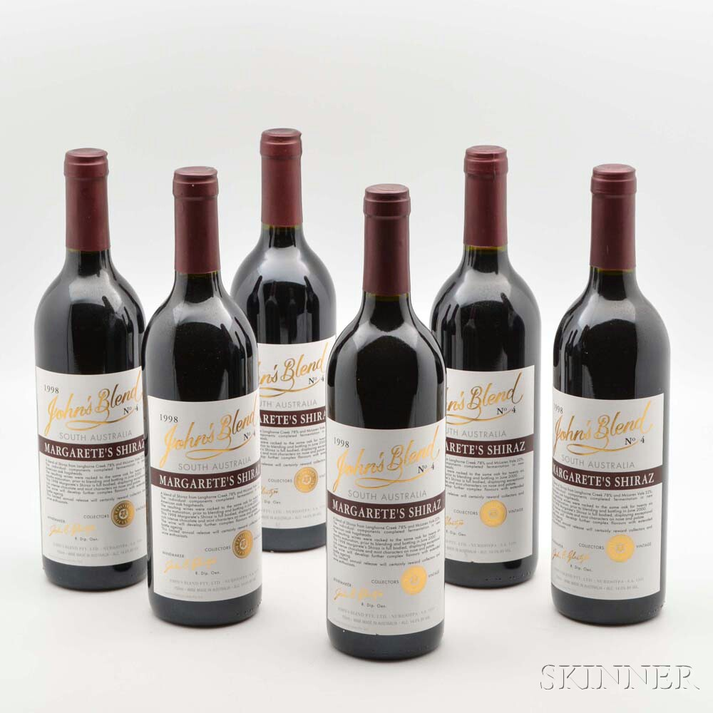 John Glaezer Johns Blend Margaretes Shiraz 1998, 6 bottles