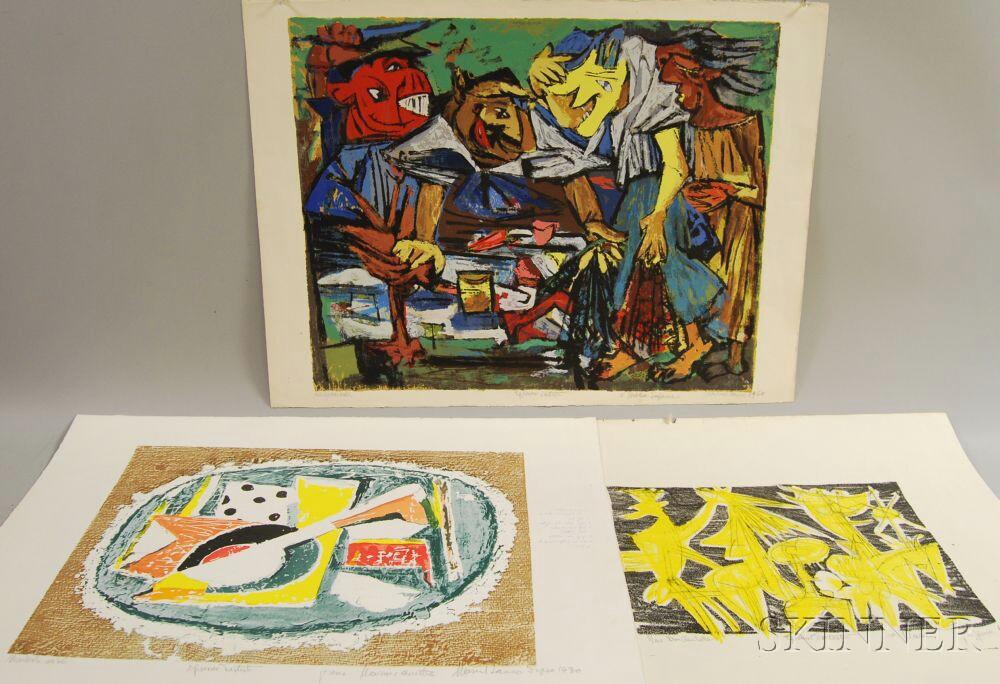 Marcel Janco (Israeli, 1895-1984)      Three Artist's Proofs: Mandolin au dé