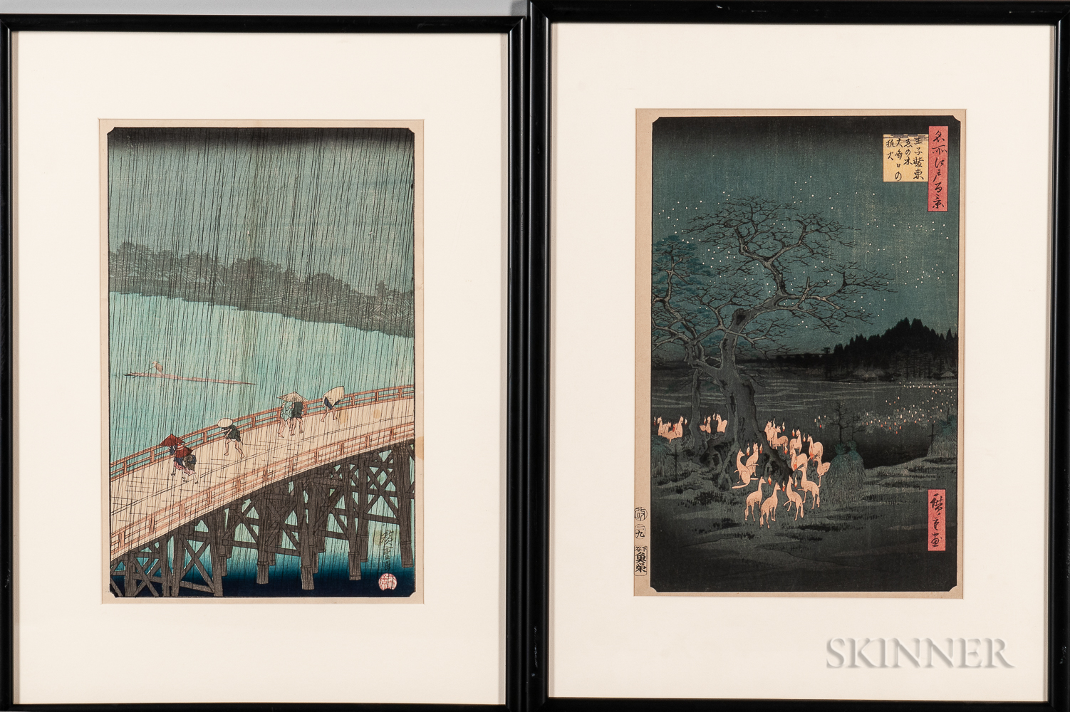 Utagawa Hiroshige (1797-1858), Two Woodblock Prints