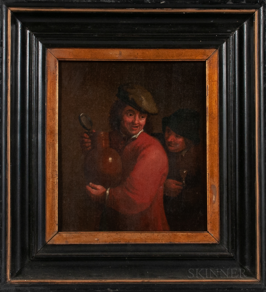 Dutch School, 17th Century Style      Two Men Enjoying Drink