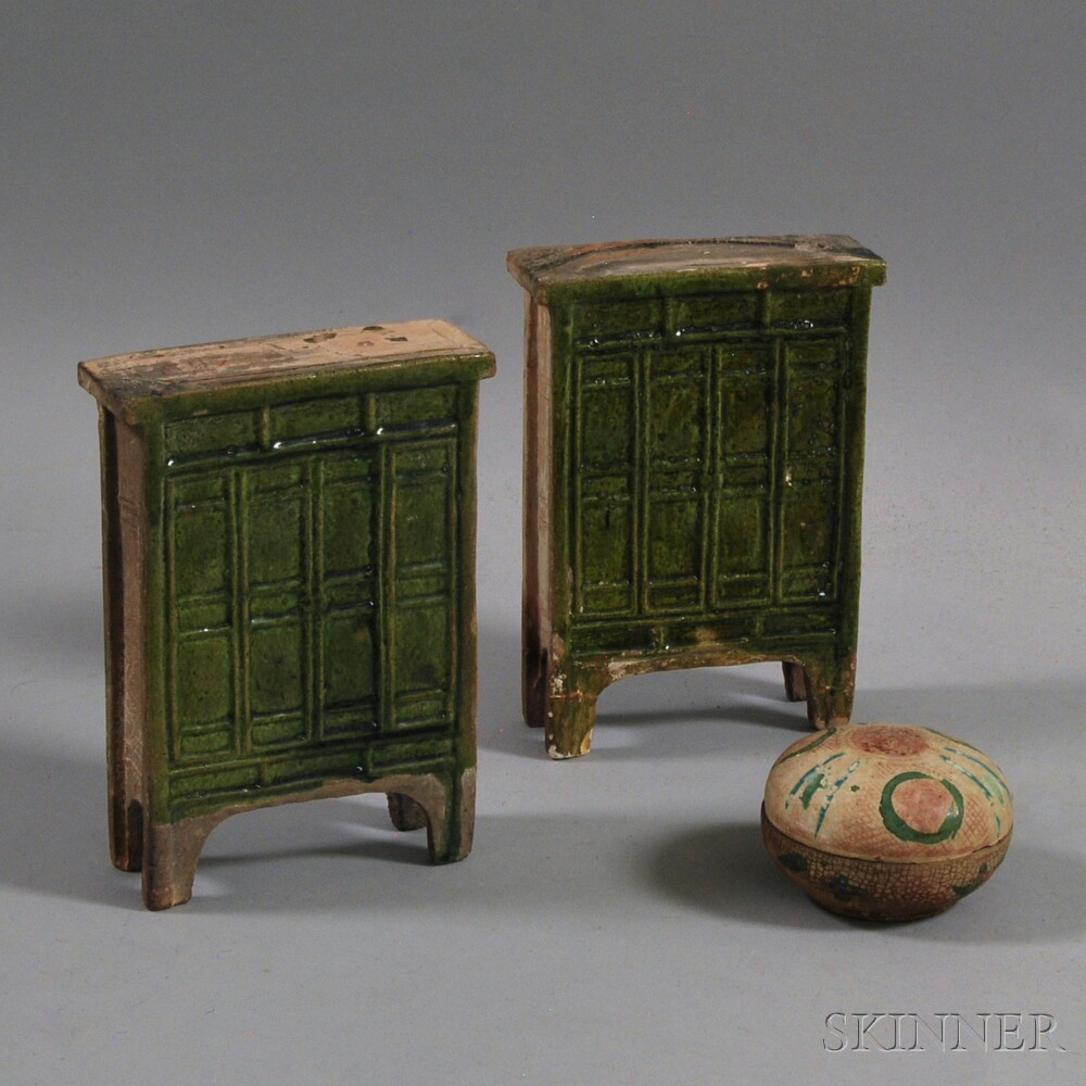 Covered Box and a Pair of Miniature Ceramic Cabinets