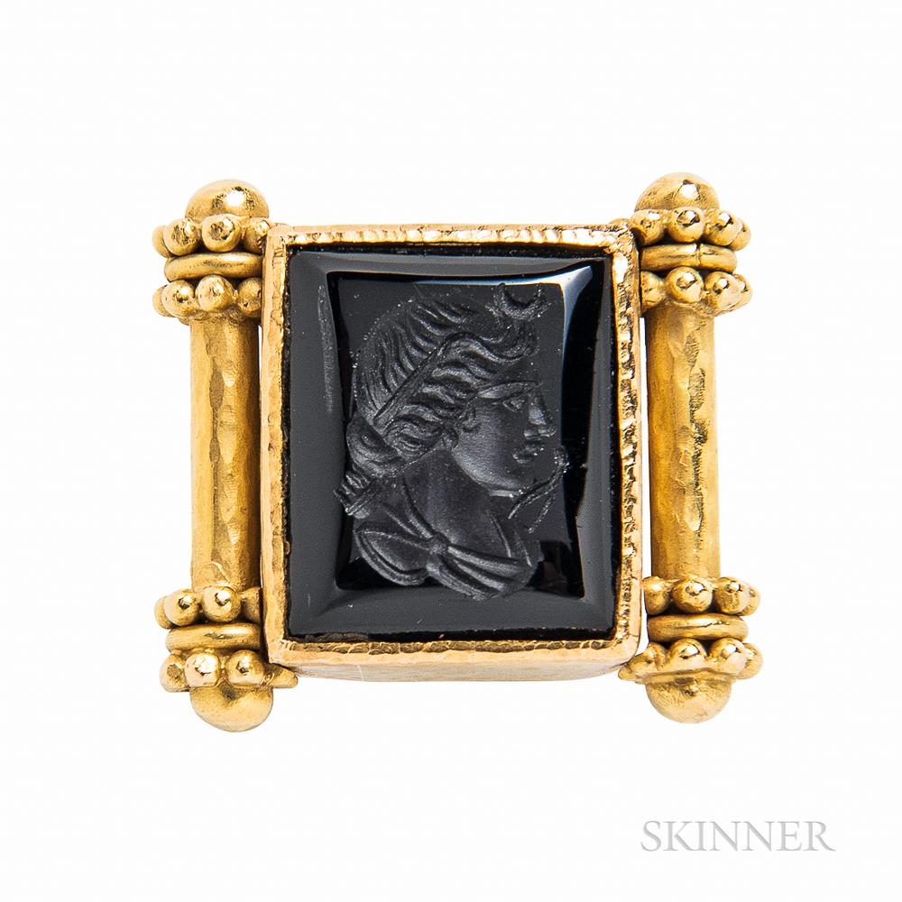 Elizabeth Locke 18kt Gold and Onyx Intaglio Ring