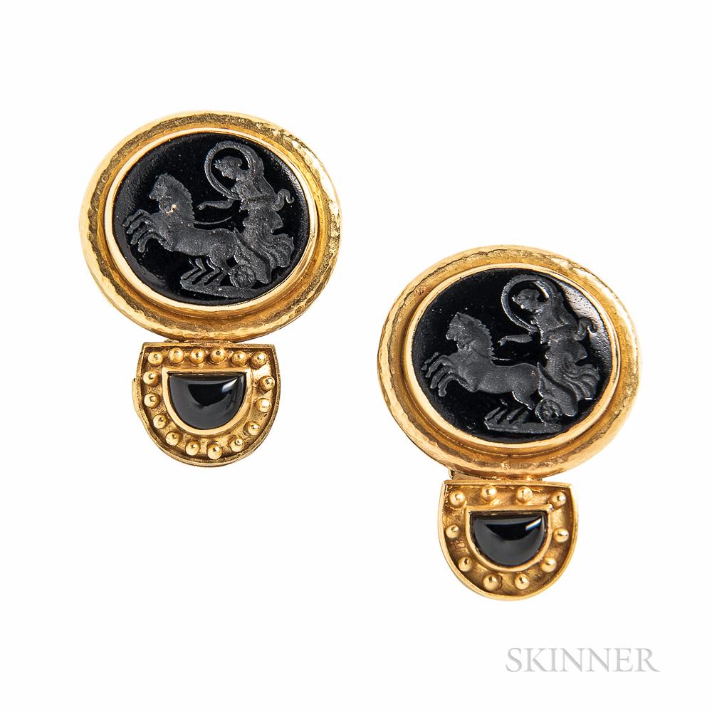 Elizabeth Locke 18kt Gold and Glass Intaglio Gold Earrings