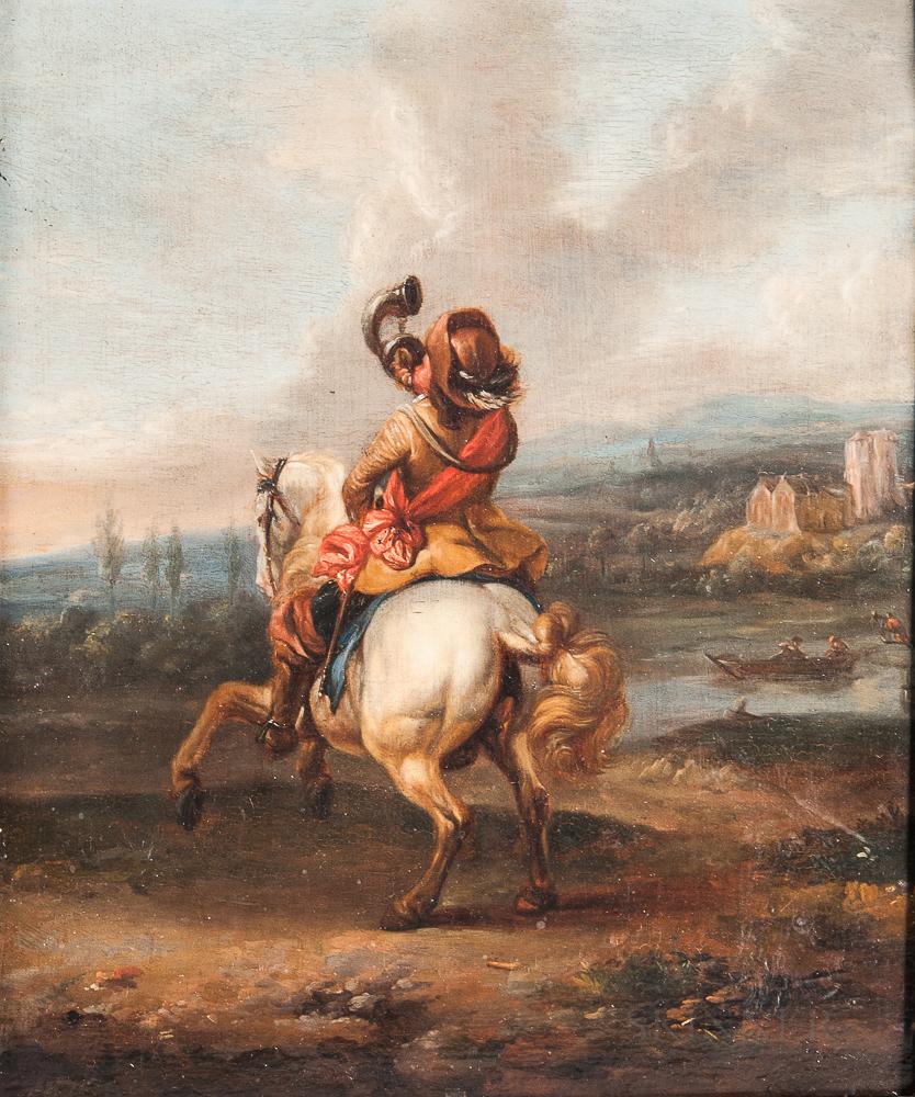 Dutch School, 17th Century      Horseman Blowing a Trumpet in a Landscape