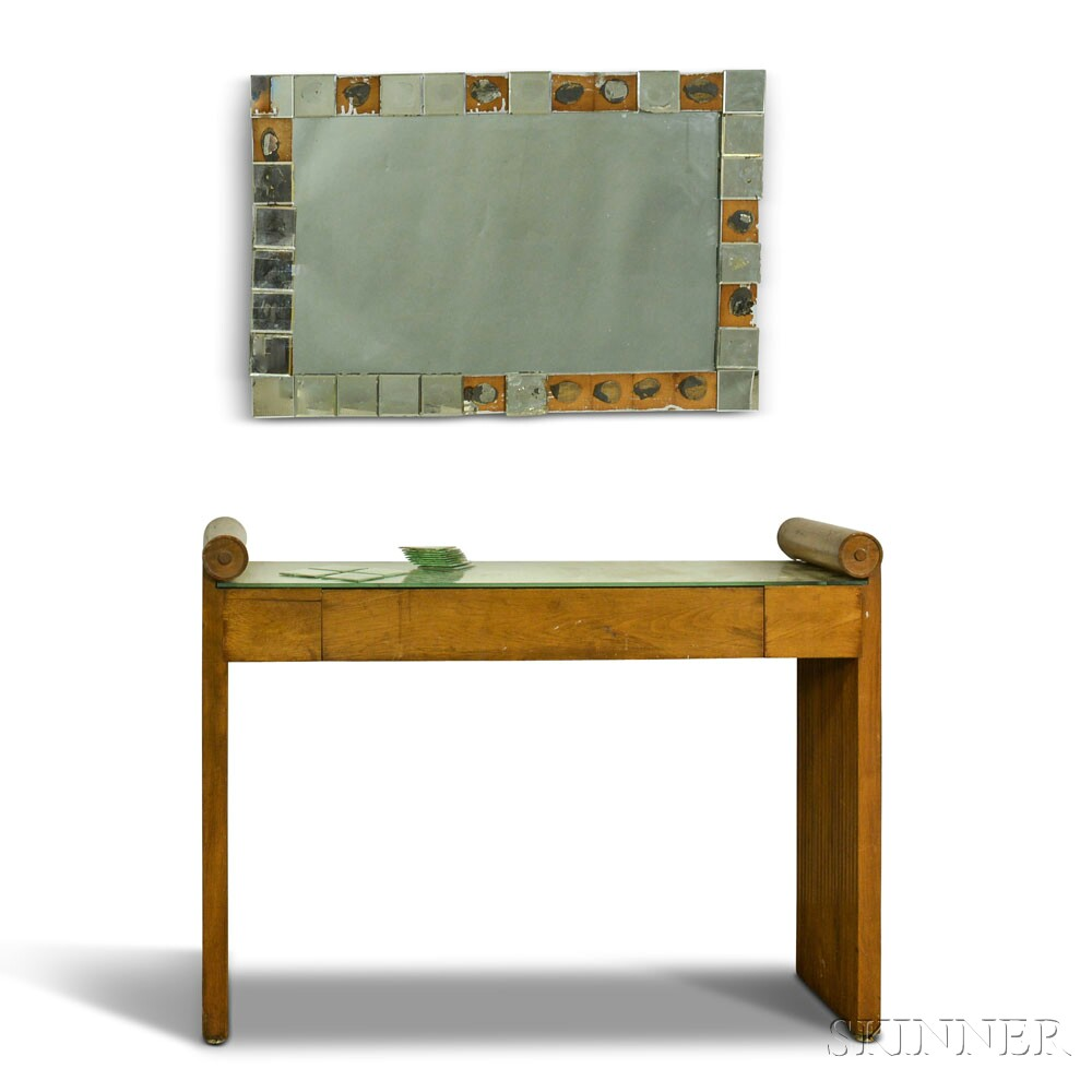 Art Deco Fruitwood Dressing Table and Mirror