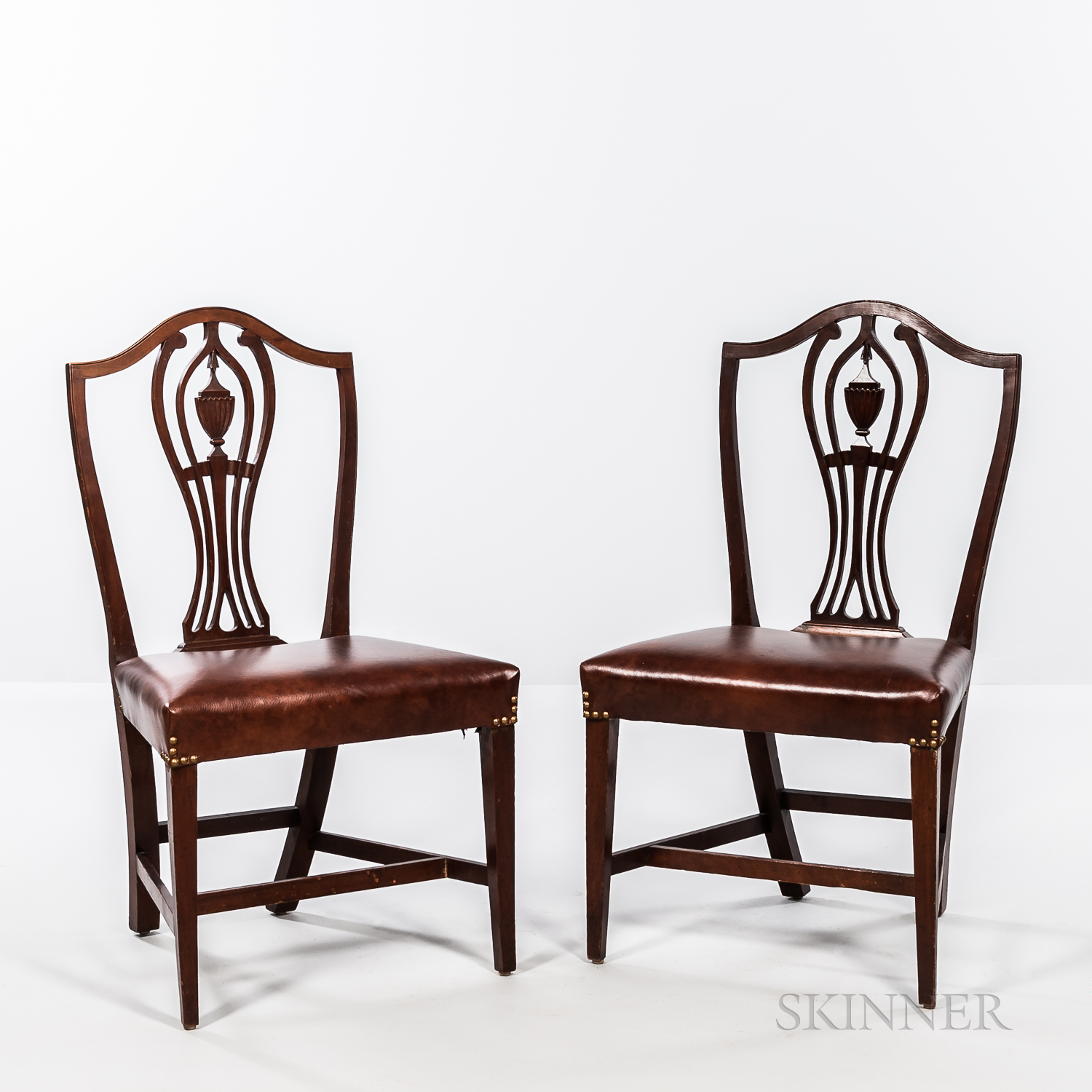 Pair of Carved Cherry Shield-back Chairs