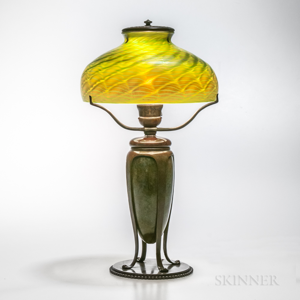 Tiffany Studios Bronze Urn Base with Damascene Shade