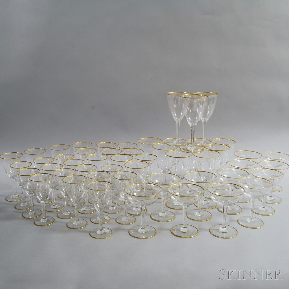 Approximately Fifty-one Pieces of Baccarat Gilt-rim Stemware