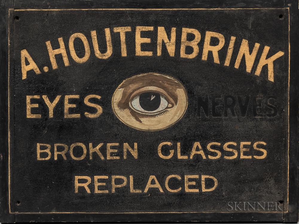 """""""A. Houtenbrink Eyes, Nerves, Broken Glasses Replaced"""" Trade Sign"""
