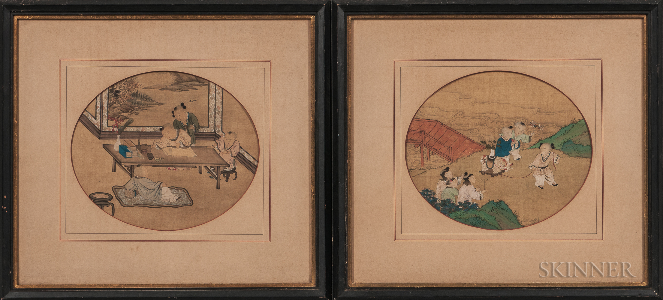 Pair of Paintings Depicting Boys at Play