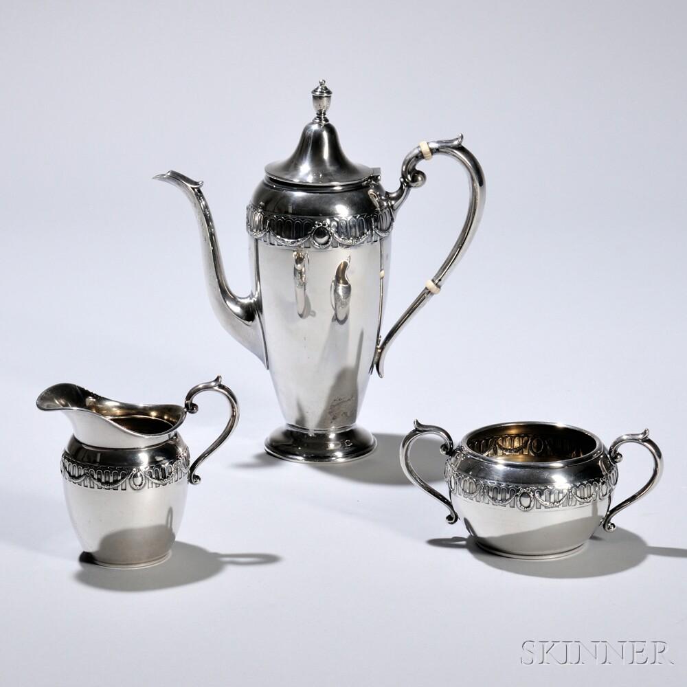 Three-piece Gorham-Durgin Sterling Silver Coffee Service