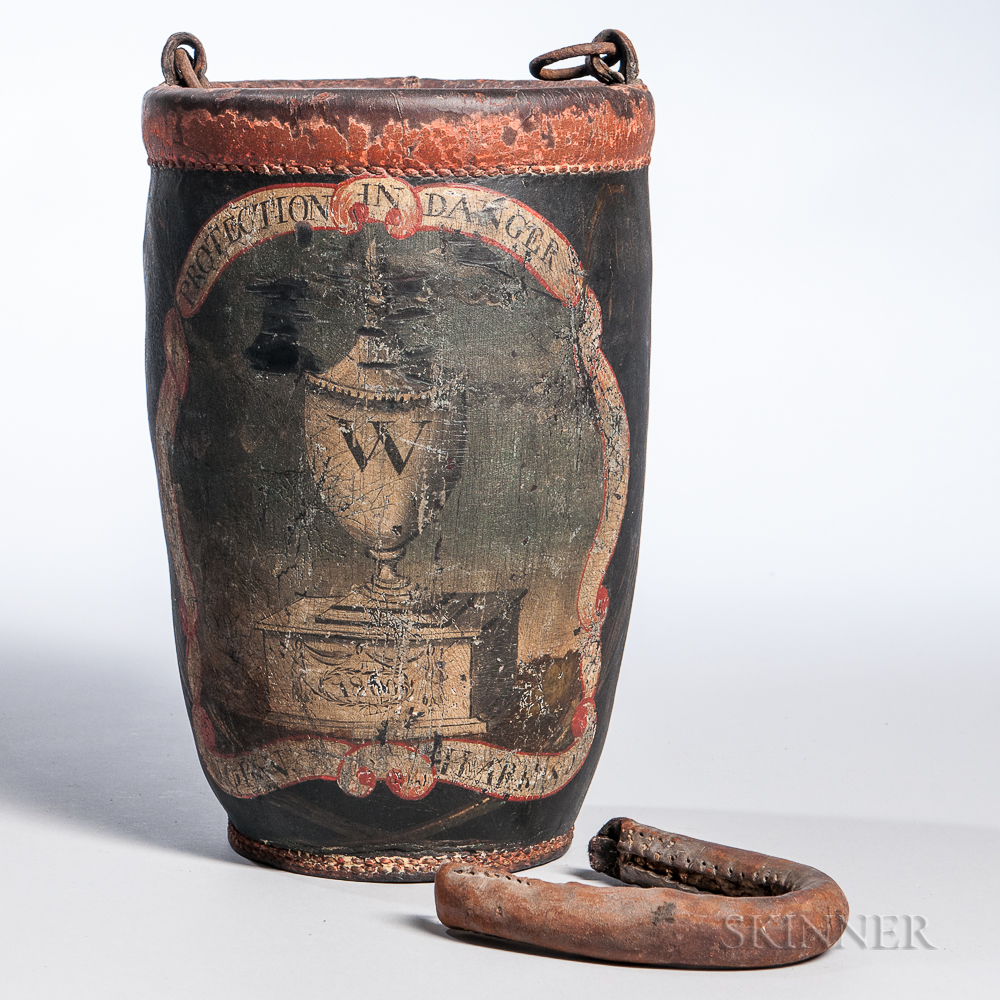 Paint-decorated Leather George Washington Memorial Fire Bucket