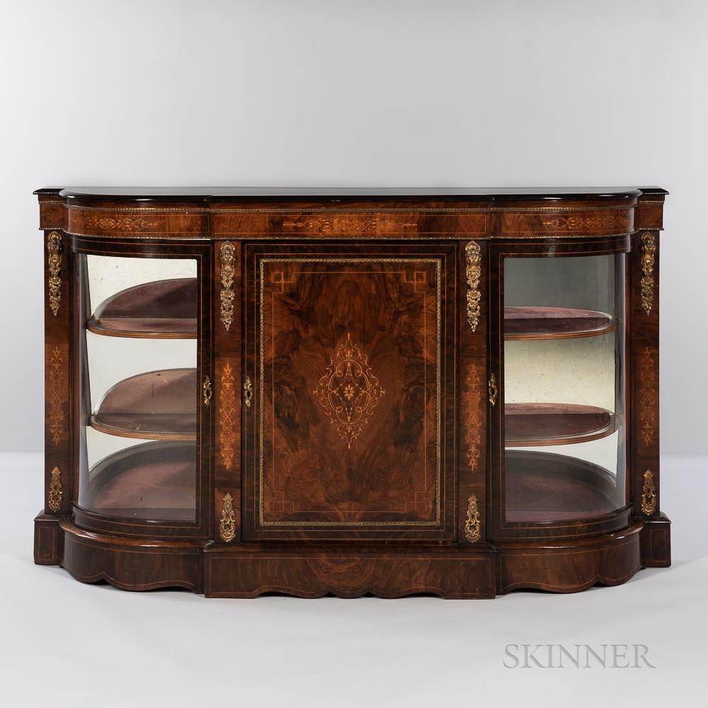 Second Empire-style Ormolu-mounted, Burlwood-veneered Mahogany Cabinet