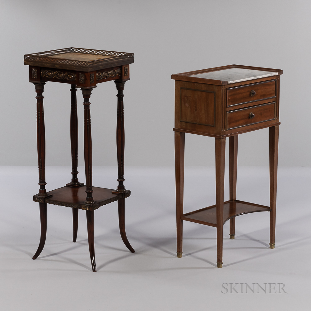 Two Louis XVI-style Marble-top Mahogany Side Tables