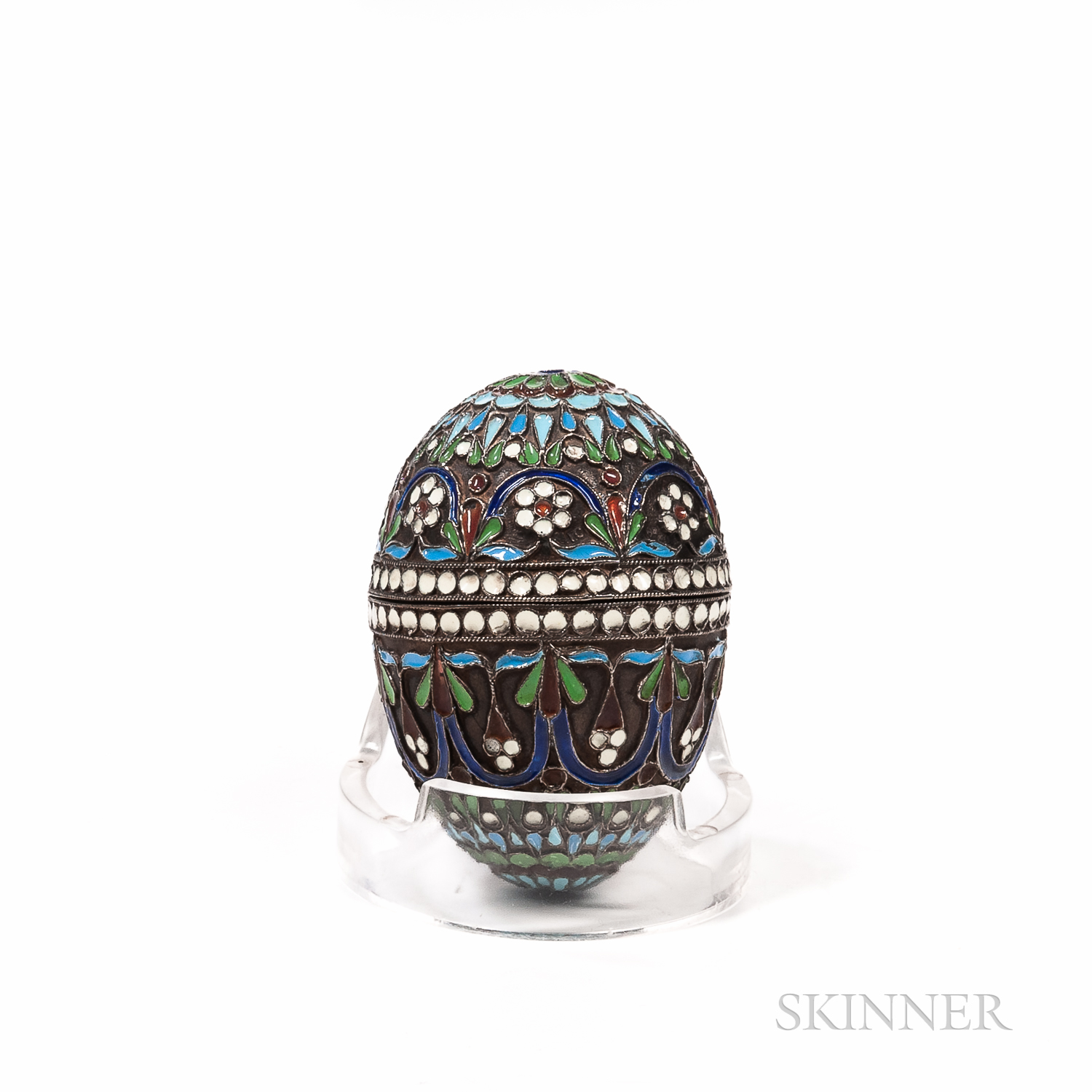 Russian Silver and Enameled Egg
