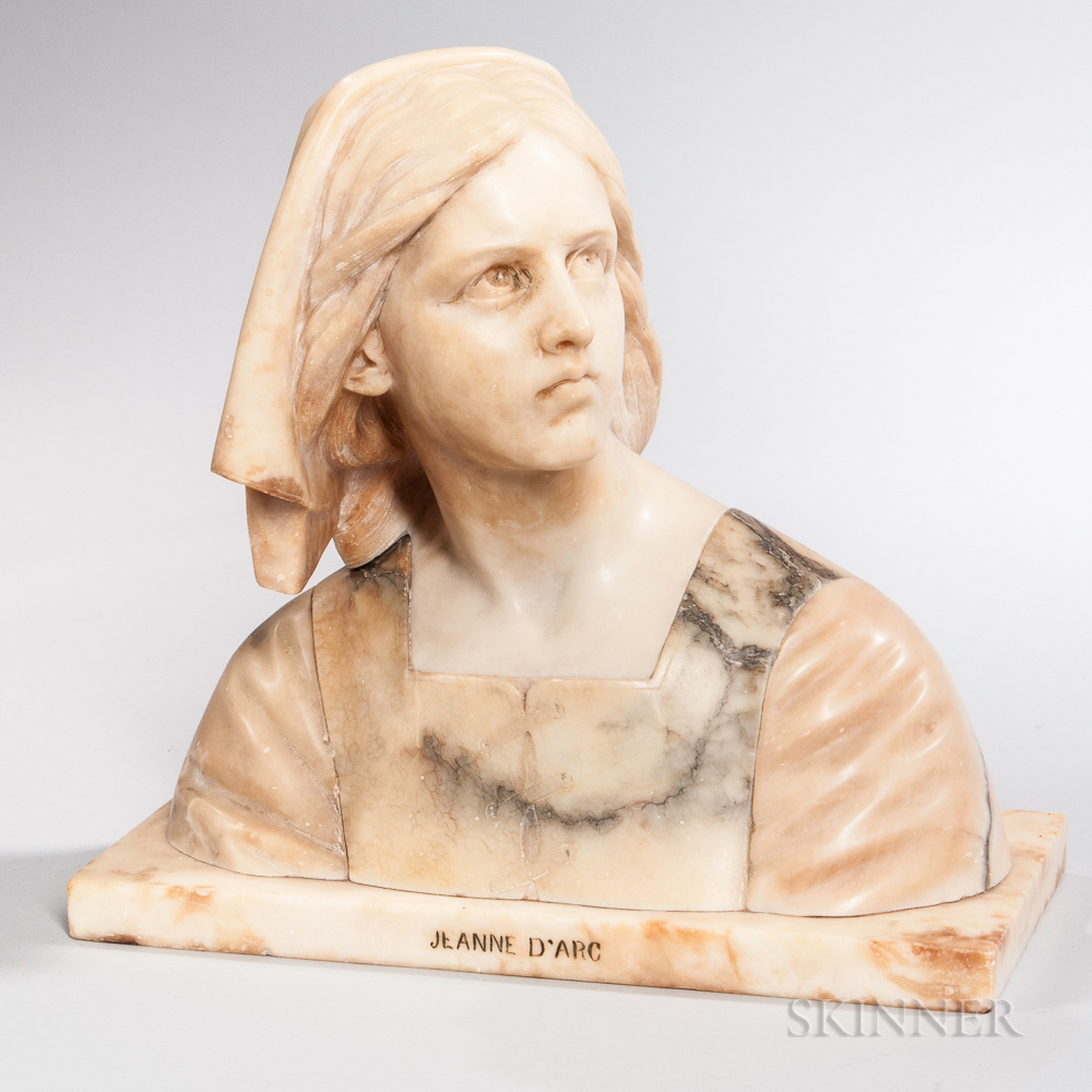 Continental Alabaster Bust of Joan of Arc