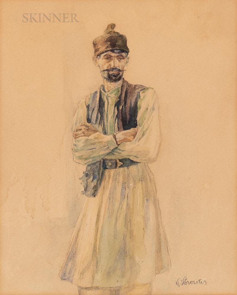 Walter Horwarter (Austrian, 1883-1963)      Portrait of a Turkish Man
