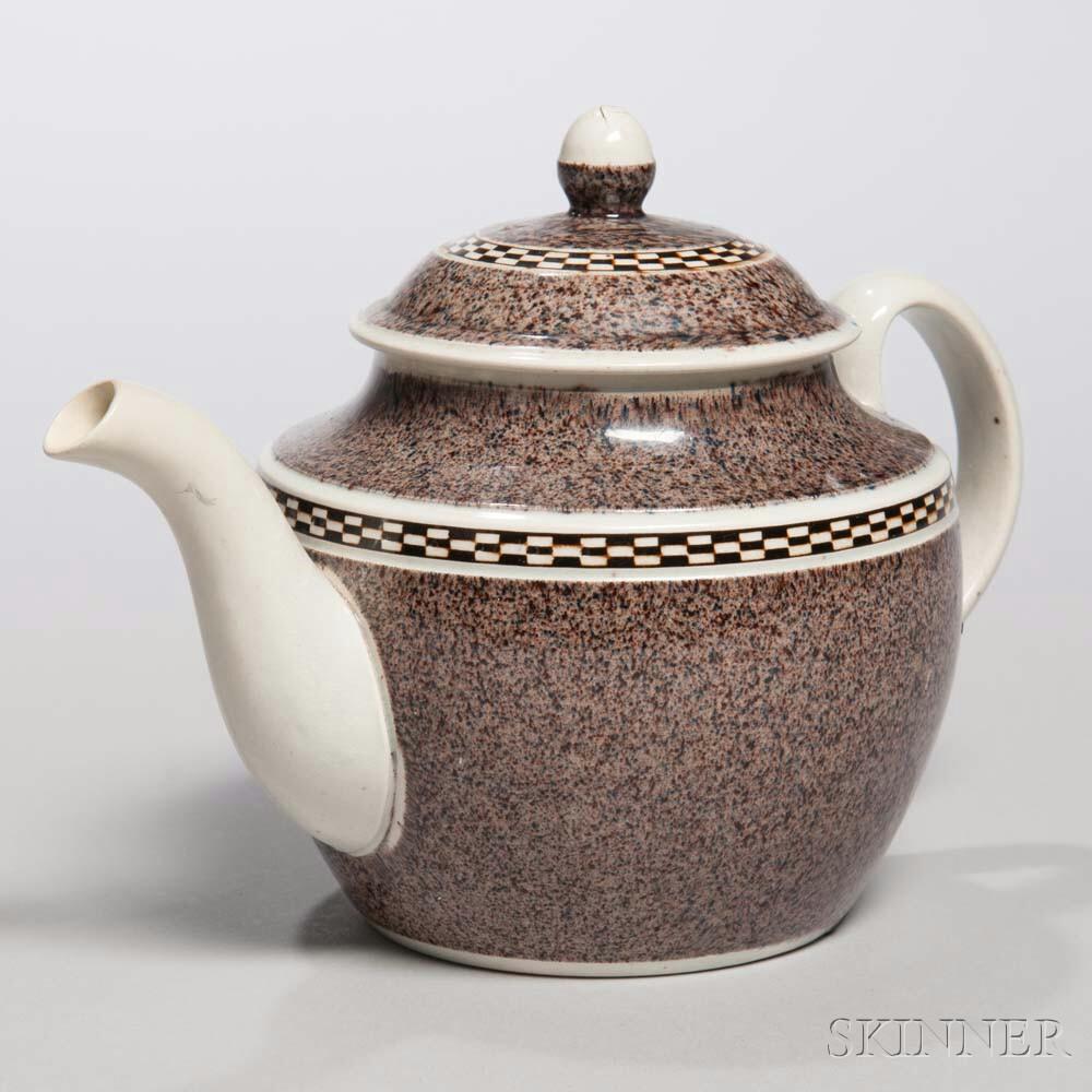 Mocha-decorated Pearlware Teapot