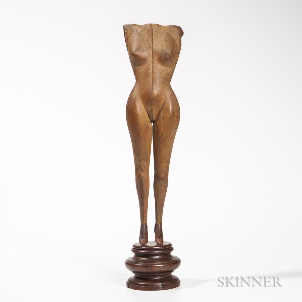 Carved Wooden Nude Female Torso