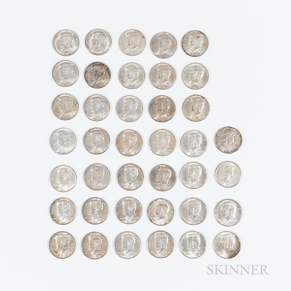 Thirty-eight 1964 Kennedy Half Dollars