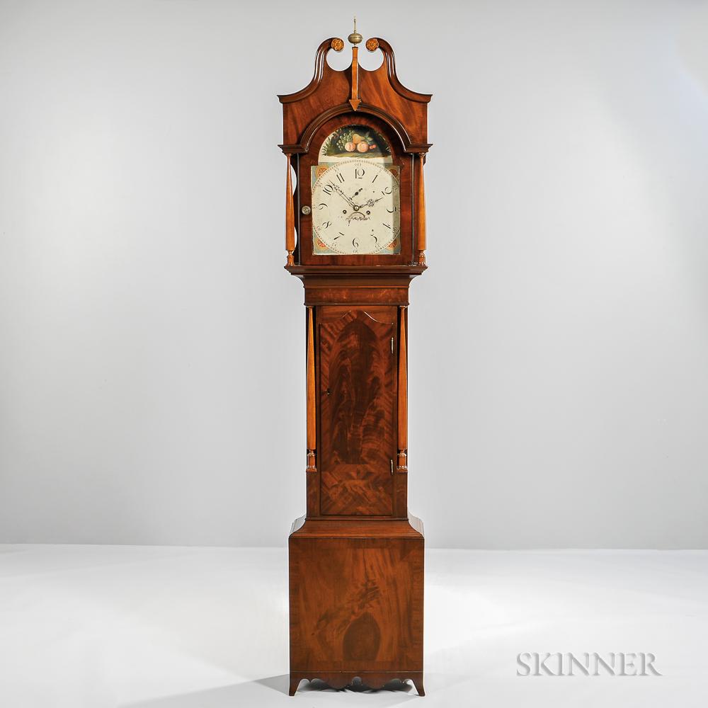 Mahogany and Mahogany Veneer Inlaid Tall Case Clock