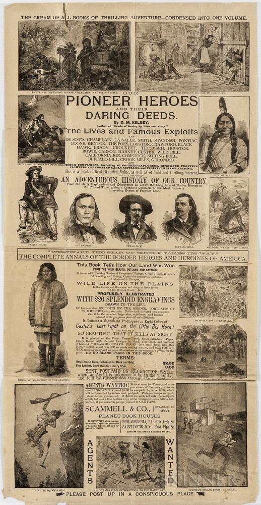 Kelsey, D.M. (fl. circa 1880s) Pioneer Heroes and their Daring Deeds  , Advertising Poster.