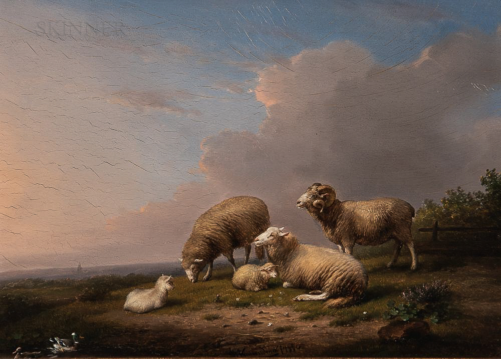 Frans Van Severdonck (Belgian, 1809-1889)      Sheep and Lambs in a Landscape