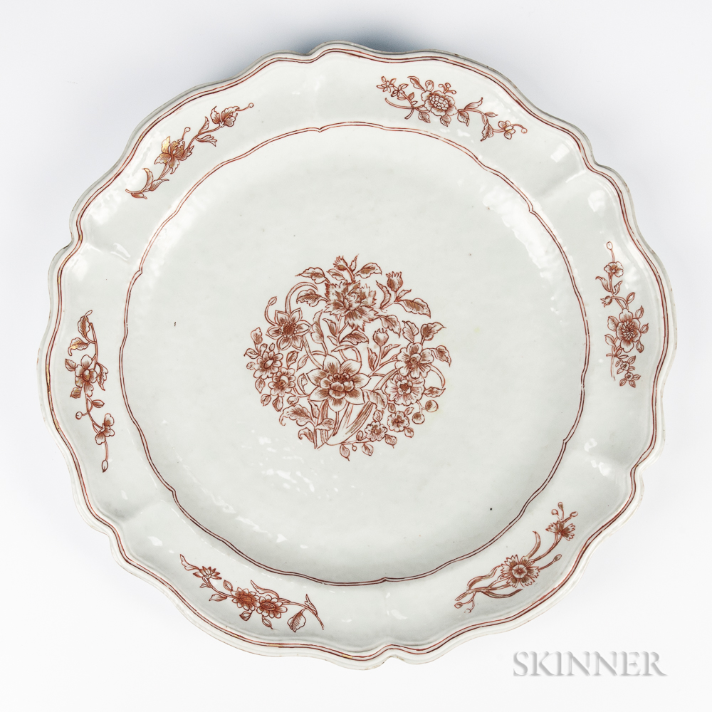 Export Red and Gilt Decorated Plate