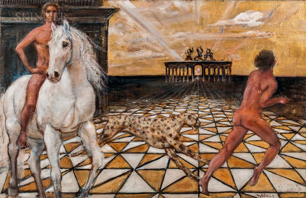 Nancy Ellen Craig (American, 1927-2015)      Two Surrealist Compositions: Renaissance Dream Drawing: The Shores of Time
