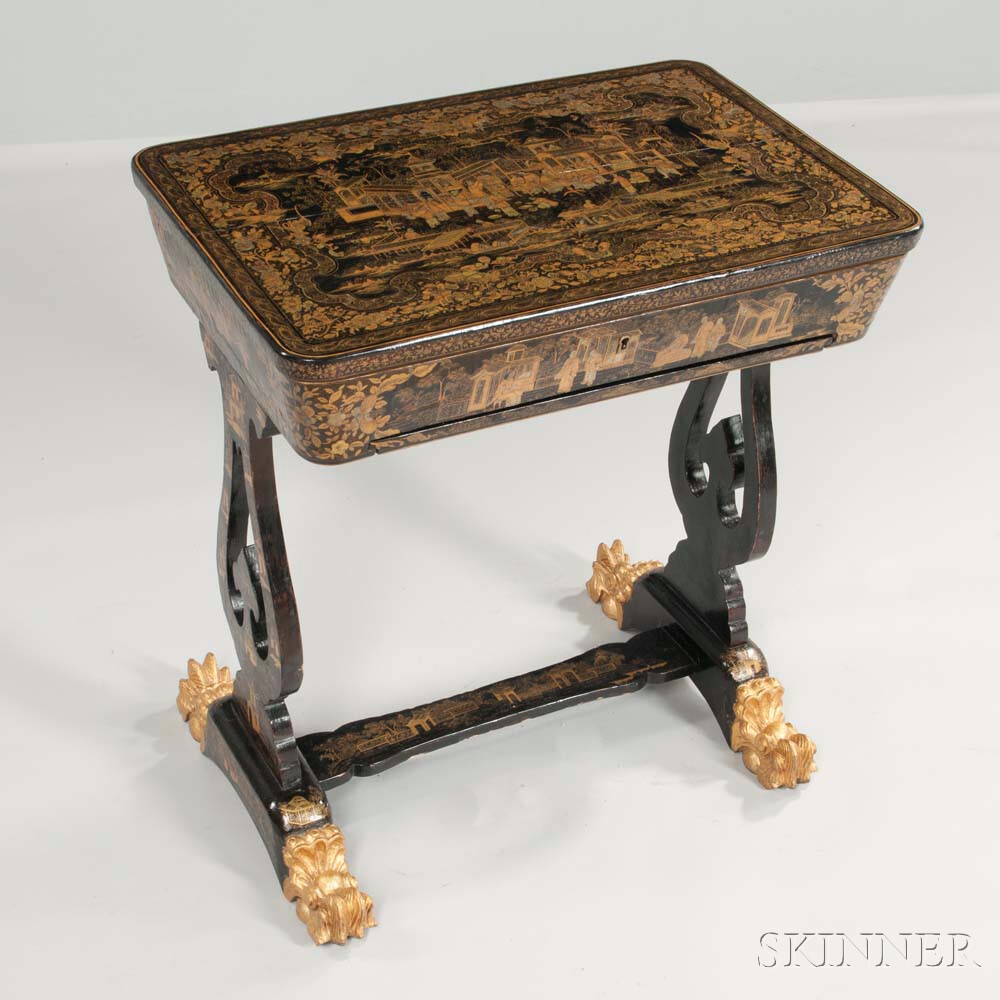 Chinese Export Gilt-decorated Lacquered Sewing Stand