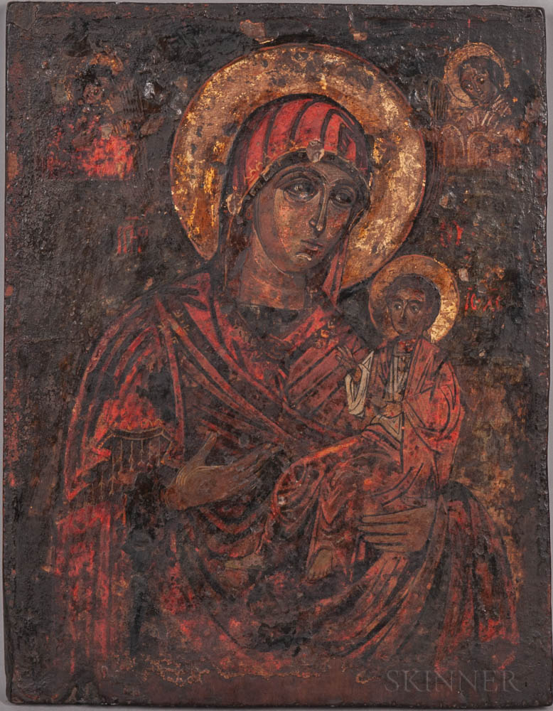 Two Balkan Peninsula Icons Depicting the Virgin Mary and Christ