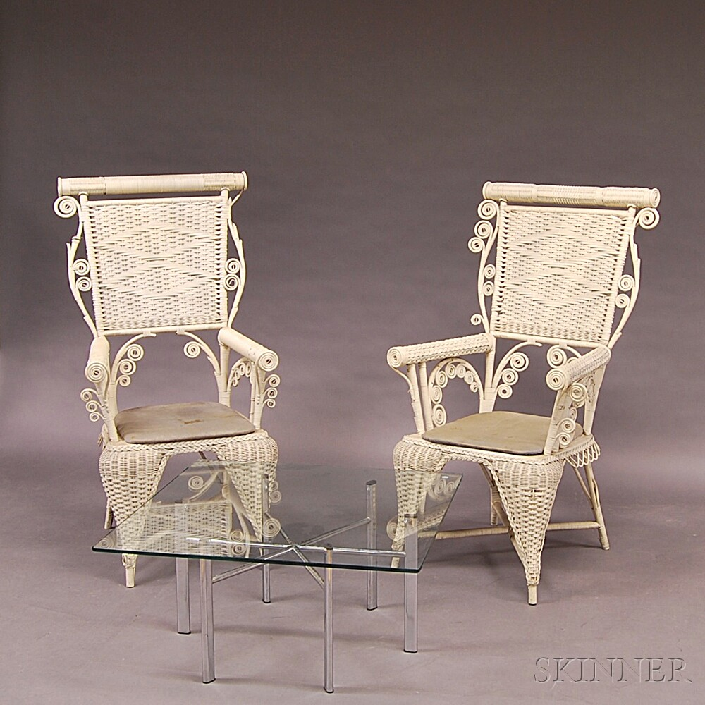 Two Similar White-painted Fancy Wicker Chairs And A Mid