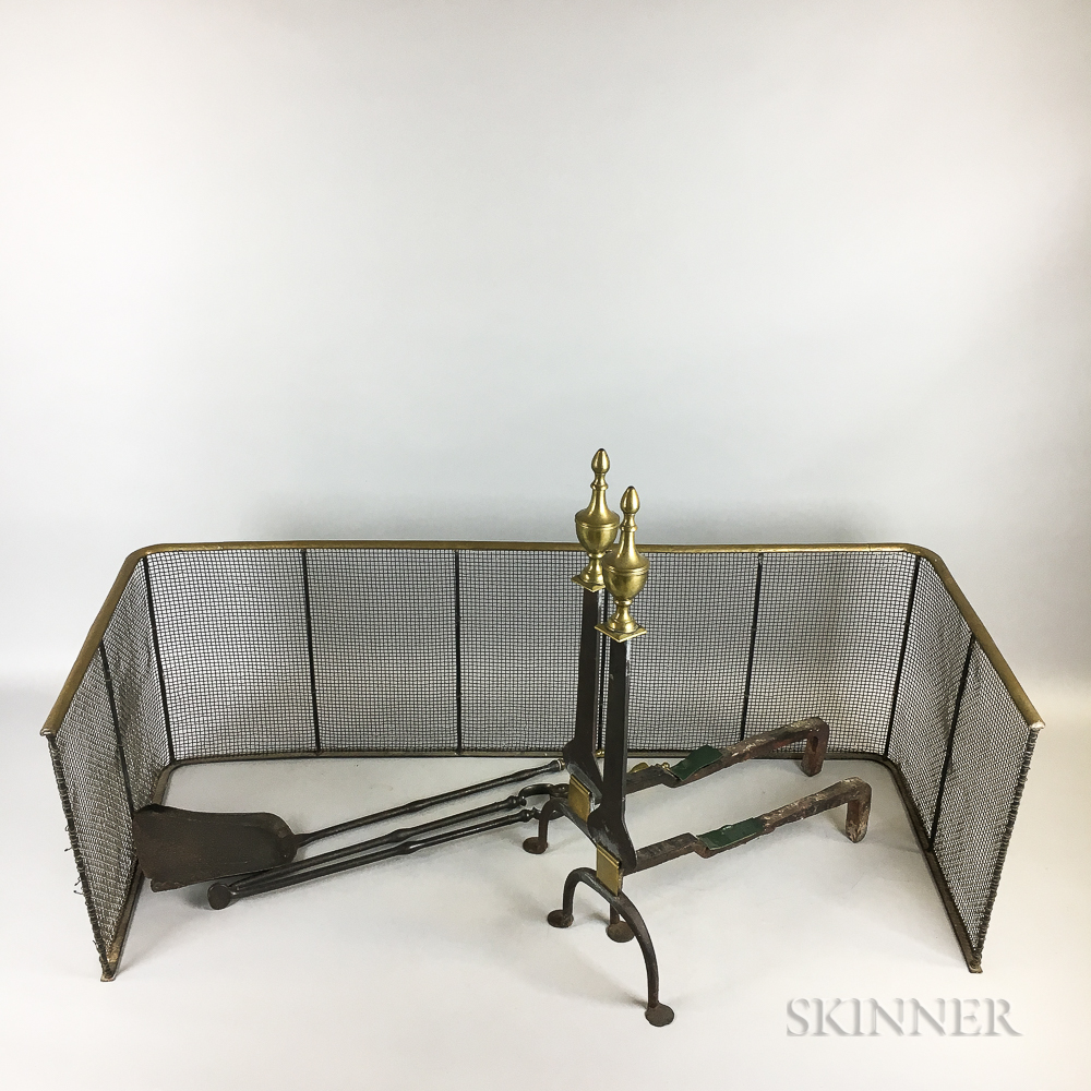 Pair of Brass and Iron Urn-top Knife-blade Andirons, a Shovel, Tongs, and Firescreen.     Estimate $400-600