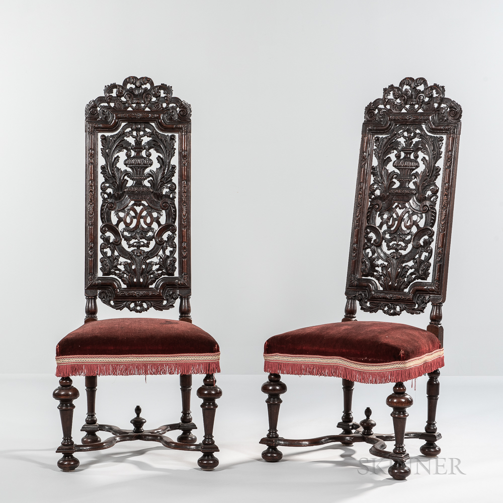 Pair of Daniel Marot-style Carved Walnut High-back Side Chairs