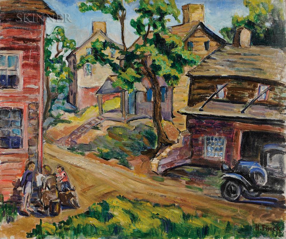 Hazel Finck (American, 1894-1977)    Sketching in the Sun