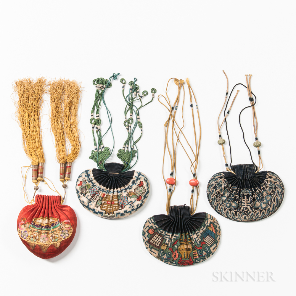 Three Embroidered Purses and an Aromatic Pouch